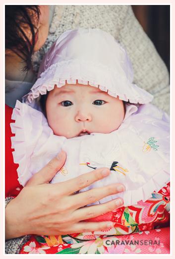 お宮参り 女の子赤ちゃん 産着 帽子 スタイ(よだれかけ)