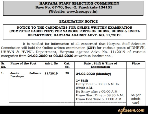 HSSC 11/2019 Exam Date Announced, Download Admit Card From 17 Feb, Tests from 24 Feb