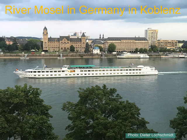 Germany - River Mosel in Koblenz flowing into the River Rhine just near by