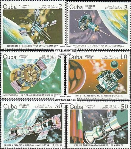 Známky Kuba 1984 Vesmírny výskum razítkovaná séria