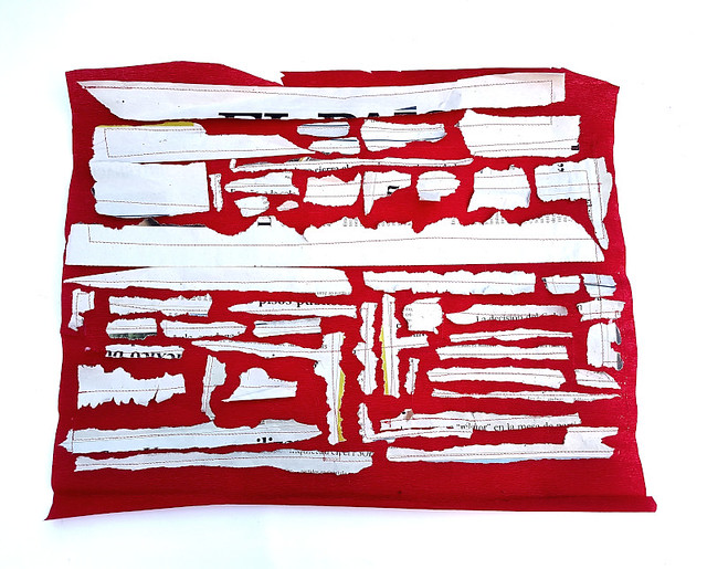 blank news bits on red crepe paper