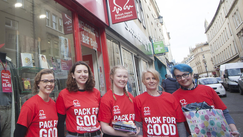 Student Community Partnership ambassadors outside the BHF's shop in Westgate Street.