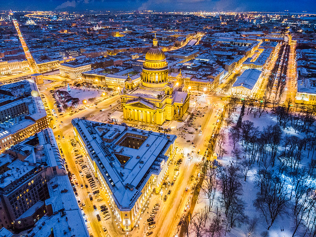 Saint Petersburg evening cityscape with Saint Isaac's Cathedral