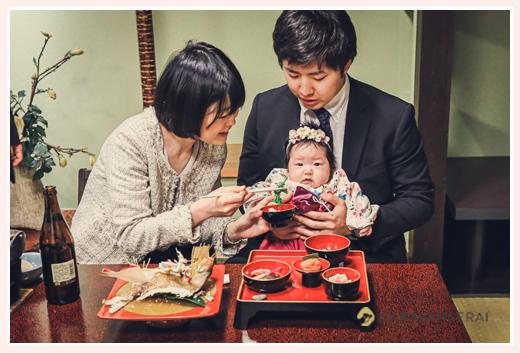 お食い初め 100日祝い パパとママが箸役 鯛の尾頭付き 歯固めの石