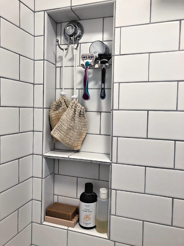 shower niche with all-natural shower products