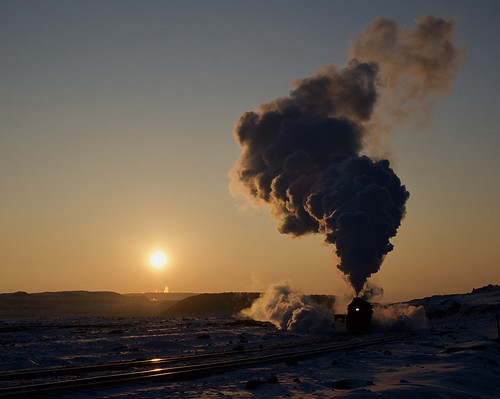 china steam sandouling sunset snow