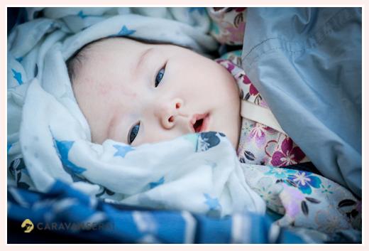 真冬のお宮参り 3か月の女の子赤ちゃん