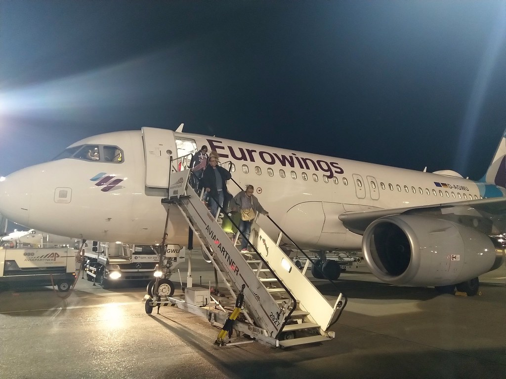 Disembarking from our Eurowings A319 airliner