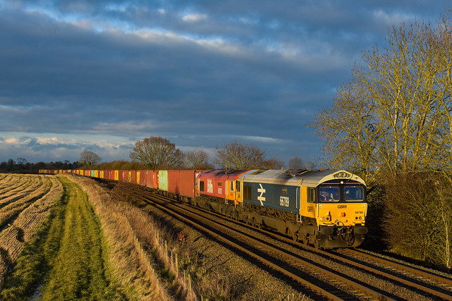 Pair of GBRf Celebs 66789 and 66783 work. 4L04 Ham's Hall to Felixstowe seen at Langham Junction