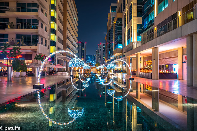 Bay Square in Dubai at night