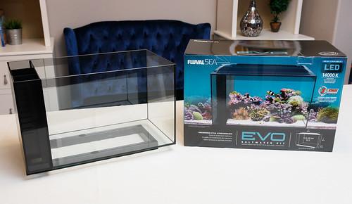 Fluval EVO 13.5 nano reef aquarium with packaging box