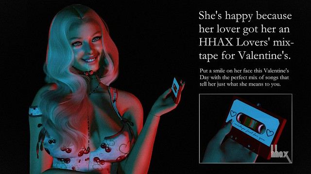 She's happy because her lover got her an HHAX Lovers' Mixtape for Valentine's.