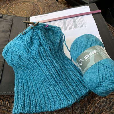 The October Hat by Sloane Rosenthal for our Cable Hat class. This one is knit in Navia Trio.