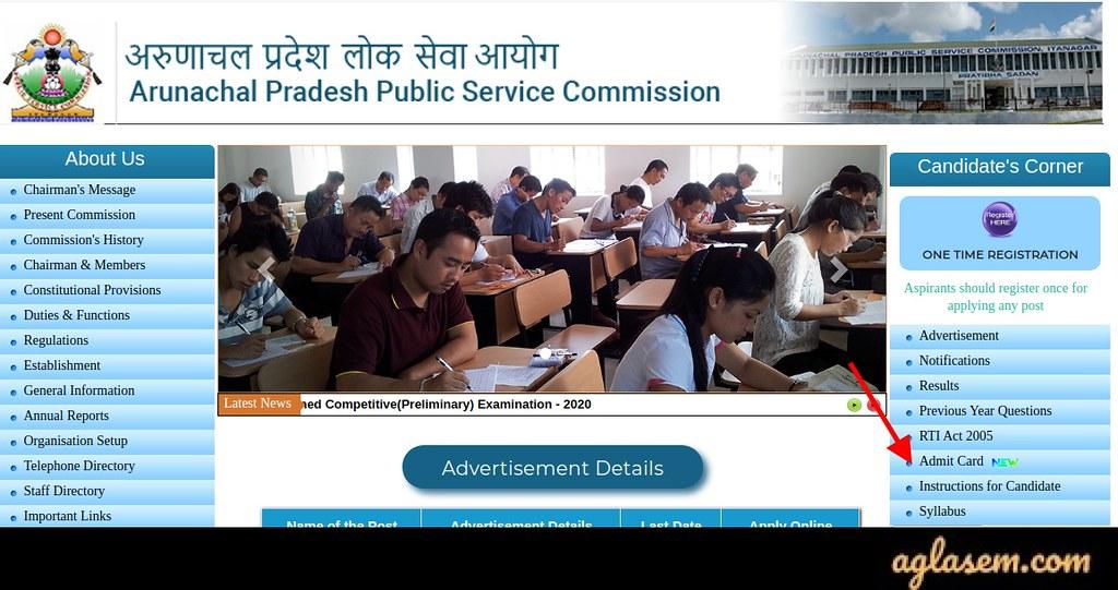 Arunachal Pradesh PSC Admit Card