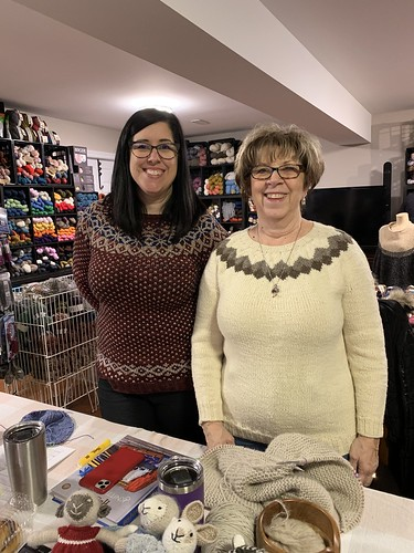 Jen and her mom sporting the sweaters they knit from the Strange Brew Colourwork class!!