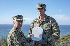 SAN DIEGO (Feb. 13, 2020) Vice Adm. Scott D. Conn, commander, U.S. 3rd Fleet (C3F), and Chief Explosive Ordnance Disposal Technician Matt O'Connor, assigned to Explosive Ordnance Disposal Mobile Unit (EODMU) 11, pose for a photo during a Silver Star Medal award ceremony held at the C3F headquarters. The Silver Star is the third-highest military combat decoration that can be awarded to a member of the United States Armed Forces. U.S. Navy EOD is the world's premier combat force for eliminating explosive threats so the Fleet and Nation can fight and win whenever, wherever. (U.S. Navy Photo by Mass Communication Specialist 3rd Class Casey S. Trietsch)