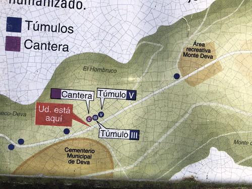 Mapa de los túmulos del Monte Deva