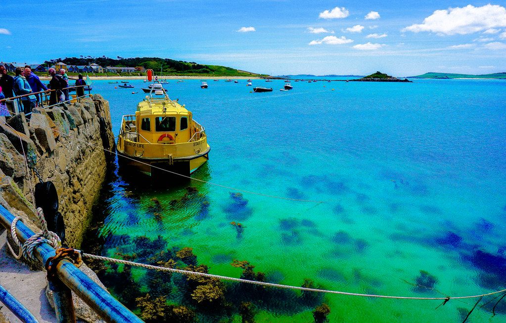 Yellow ferry boat -Turquoise Sea