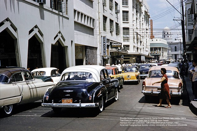 Escolta Street looking east towards Santa Cruz Church, late 1950s-1960s
