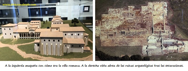 Maqueta y plano de la villa romana de Veranes