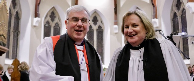 Bishop David McClay with the new rector of Kilkeel, the Revd Alison Calvin.