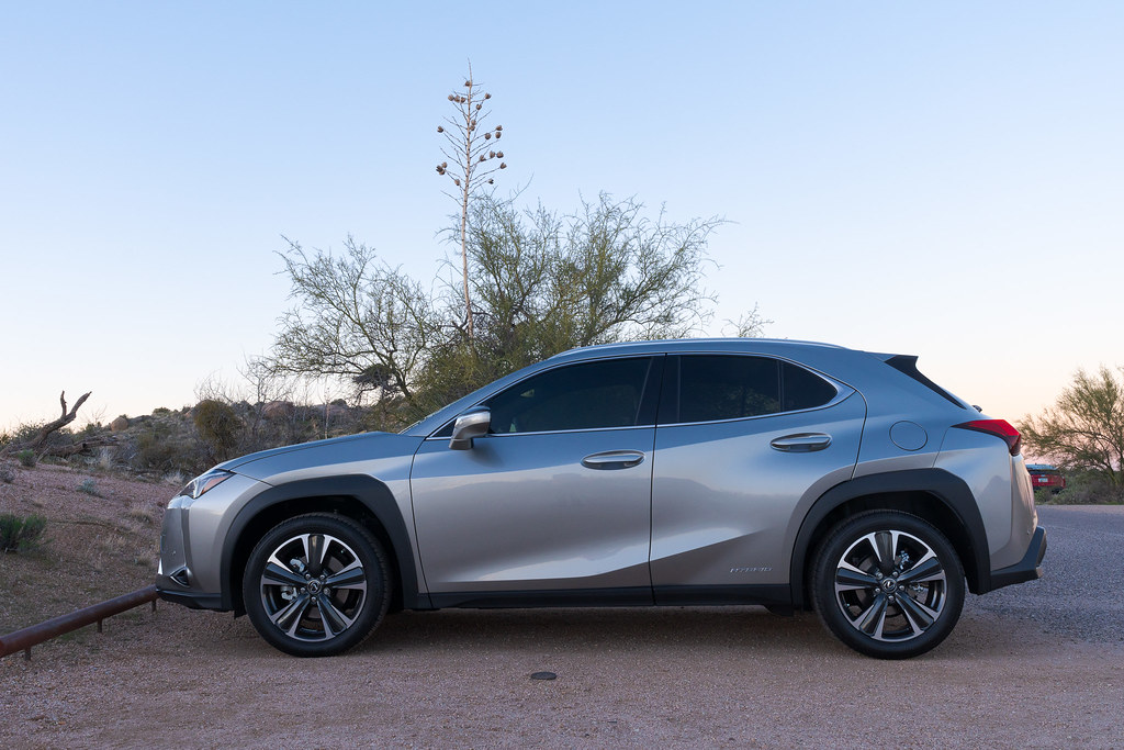 My 2020 Lexus UX 250h in Atomic Silver is parked at the Brown's Ranch trailhead in McDowell Sonoran Preserve in Scottsdale, Arizona in February 2020