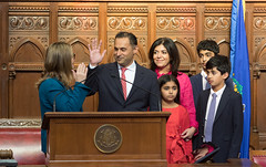 Harry Arora being sworn-in as the new state representative of the 151st General Assembly District on January 29, 2020. The district includes sections of Cos Cob, Riverside, and other neighborhoods of Greenwich. He won the special election on January 21, 2020 to replace the town's new First Selectman, Fred Camillo.