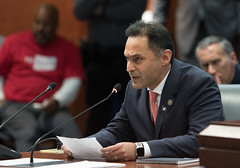 State Representative Harry Arora (R-Greenwich) testifying in opposition to tolls during a public hearing of the Transportation Committee on January 31, 2020.