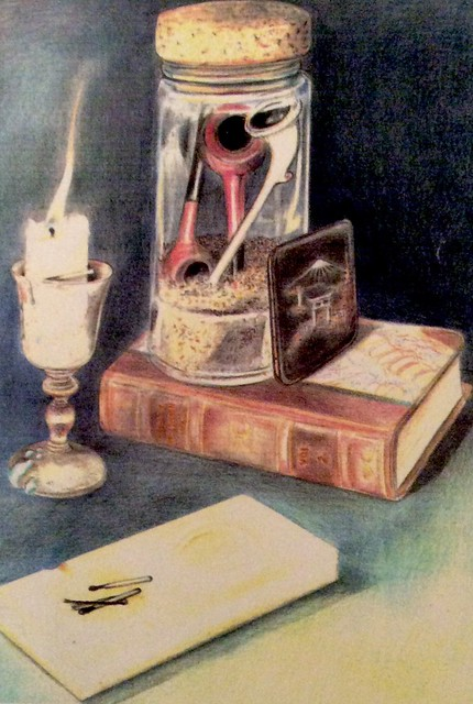 Still life study. Coloured pencil drawing on card by jmsw.