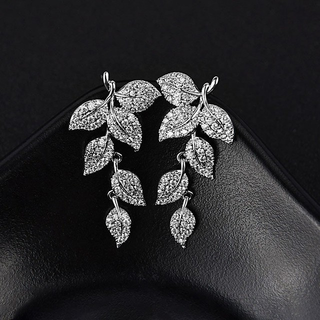 925 Silver Sterling Natural Leaf Pattern Crystal Earrings for Women