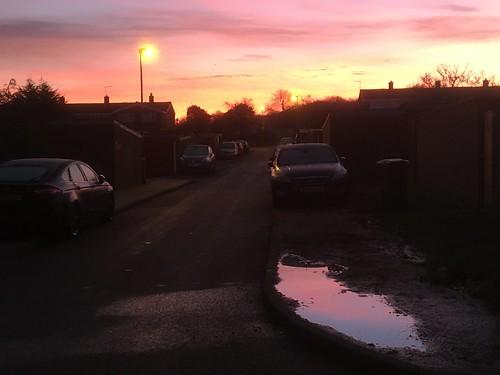 morning street reflection puddle sunrise harlow
