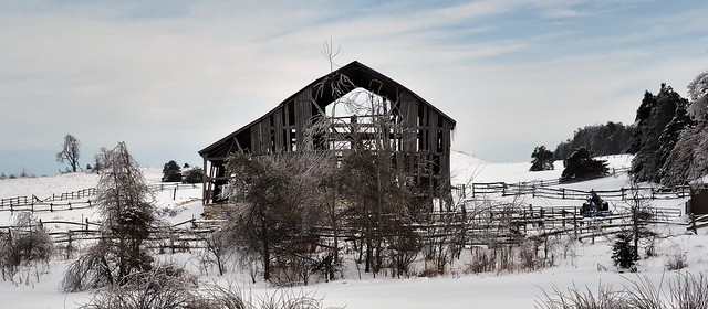 Abandoned farm with collapsing barn, Highway 10, Dufferin County, Ontario