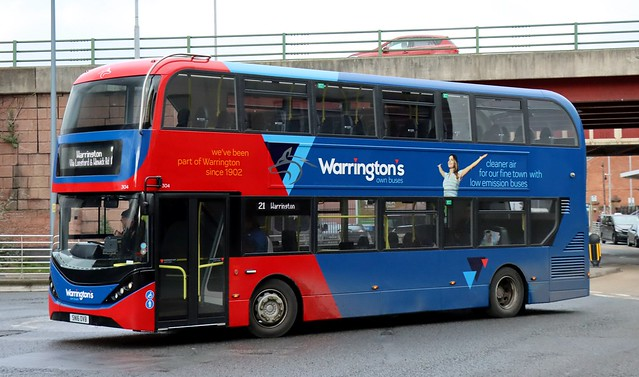 Warringtons Own Buses 304 SN16OVB enters the Bus Station with a terminating 21 service.