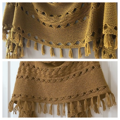 Lise (Mattedcat)'s blocked (top photo) and unblocked Hipster Shawl by Joji Locatelli!
