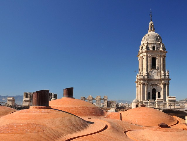Roof and tower of the cathedral in Malaga