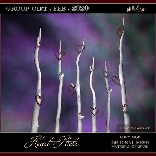 Lilith's Den - Group Gift Feb 2020 - Heart Sticks