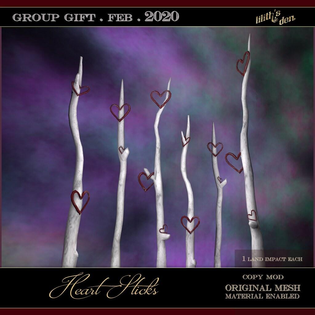 Lilith's Den – Group Gift Feb 2020 – Heart Sticks