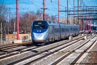 Amtrak 2008 on 2157, Chester, 2020-02-14