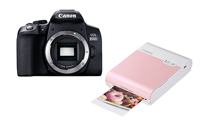 The new EOS 850D DSLR entry-level DSLR and the Selphy Square QX 10 pocket printer from Canon.