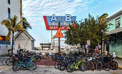 Bikes - yikes. Front Street, Key West, Florida. 14Feb2020.