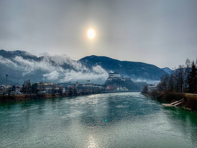 Kufstein with fortress and river Inn, Tyrol, Austria