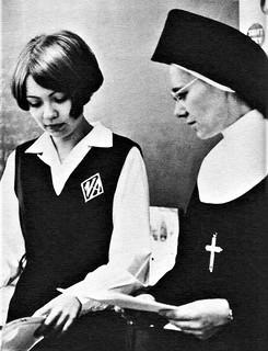 Sister M. Lauretta, SHFN teaching in 1969 at Nazareth Academy in Philadelphia, PA