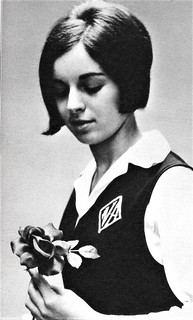 A student with a rose  in 1969 at Nazareth Academy  in Philadelphia, PA
