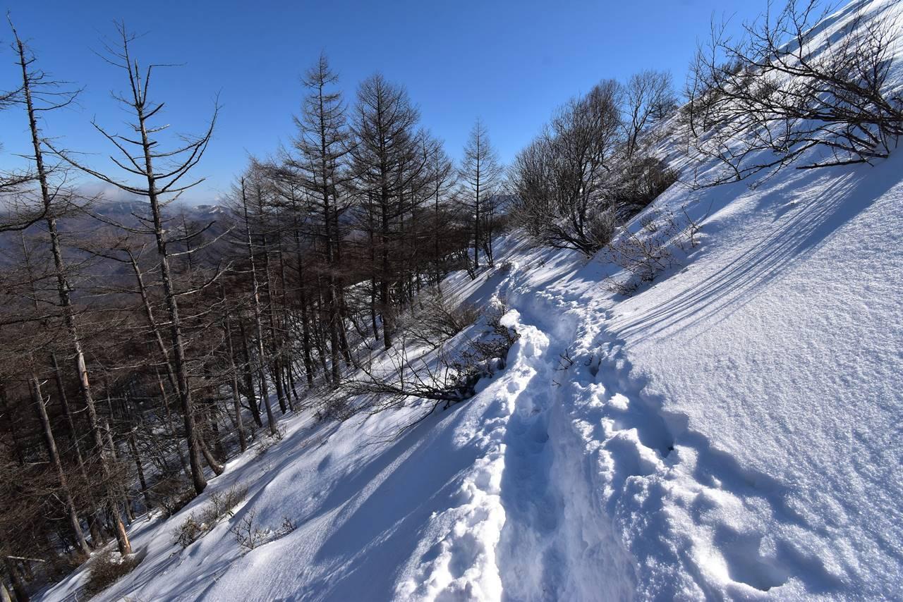 鉢伏山 雪のトラバース路