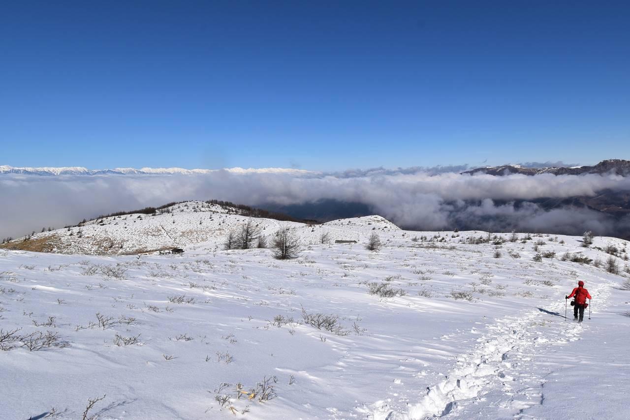 鉢伏山 雪に覆われた山頂の高原