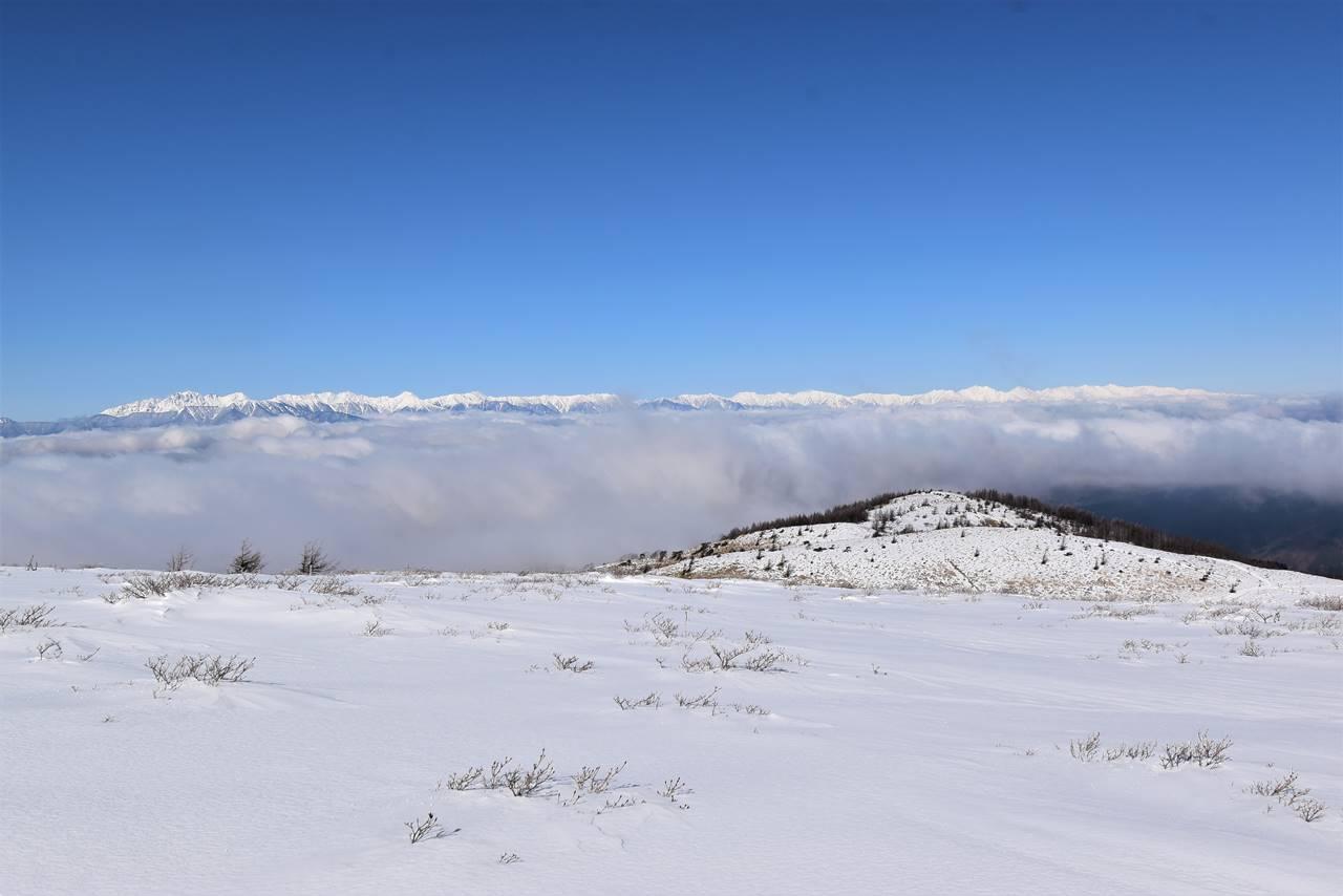 鉢伏山から眺める北アルプスと雲海