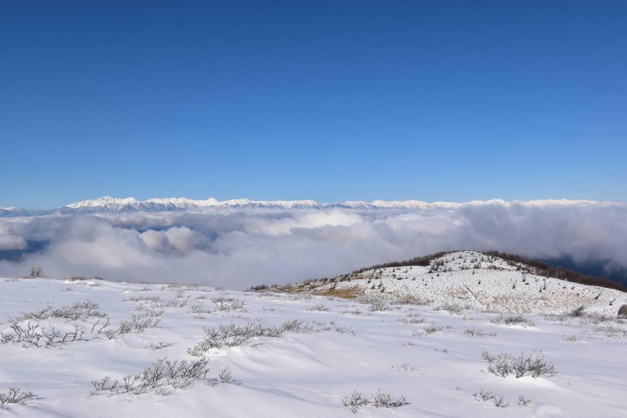 鉢伏山から眺める雲海と北アルプス