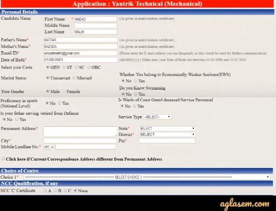 Indian Coast Guard Yantrik Application Form 02/2020