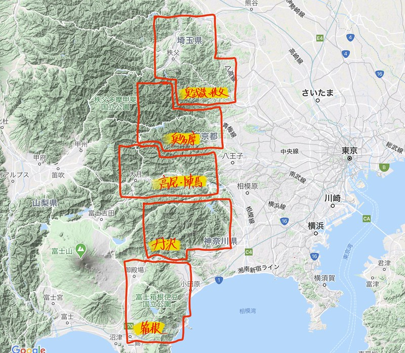 関東登山者がよく行く登山エリア