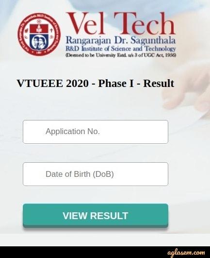 VTUEEE 2020 Phase-I Result Login